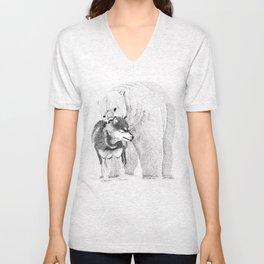 Eskimo dog and Polar bear pointillism illustration Unisex V-Neck