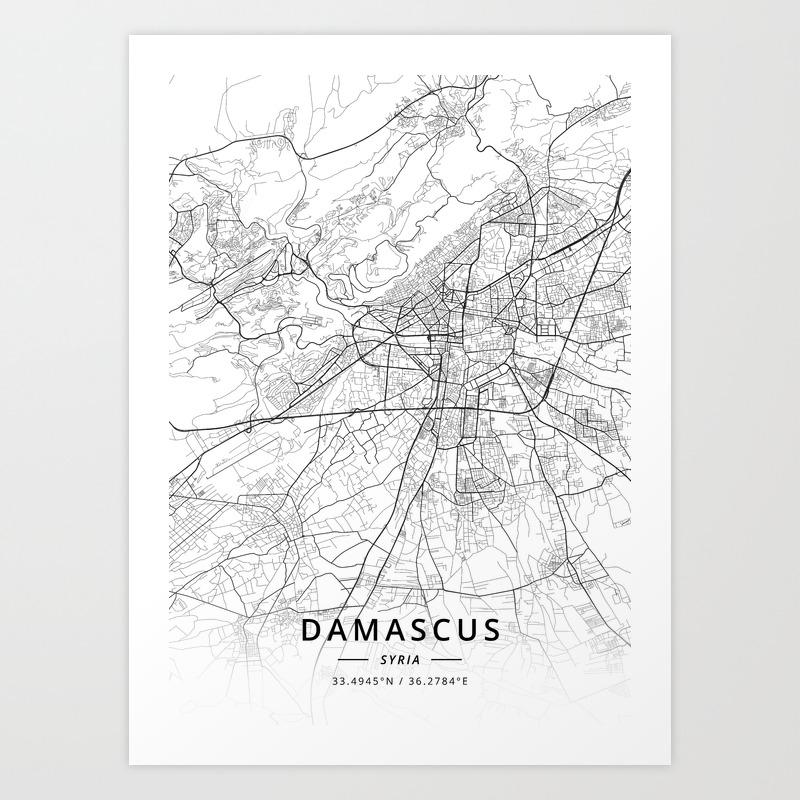 Damascus, Syria - Light Map Art Print on libya map, umayyad mosque, medina map, sanaa map, amman map, constantinople map, asma al-assad, belgrade map, bashar al-assad, jordan map, aleppo map, ankara map, sinai peninsula map, syria map, euphrates river map, canaan map, muscat map, tyre map, beirut on a map, mecca map, jerusalem map, iraq map, persia map,