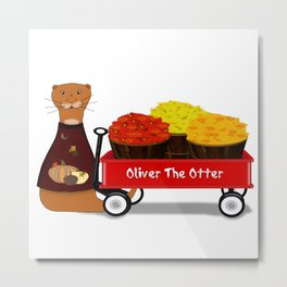 Oliver The Otter Gets Ready For Autumn Metal Print