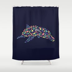 Abstract Dolphin Shower Curtain