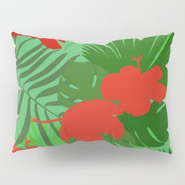 Hand drawn hibiscus, tropical leaves red and green colored seamless summer time pattern Pillow Sham