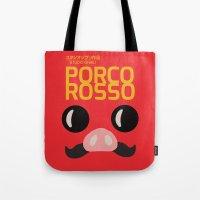 hayao miyazaki Tote Bags featuring Porco Rosso - Miyazaki - Alternative Cartoon Poster by Stefanoreves