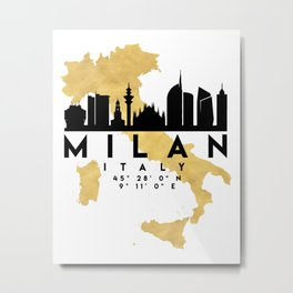 MILAN ITALY SILHOUETTE SKYLINE MAP ART Metal Print