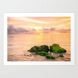 Glowing Caribbean Sunset Fine Art Print Art Print