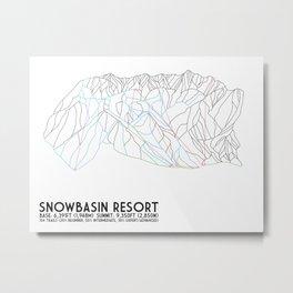 Snowbasin, UT - Minimalist Trail Art Metal Print