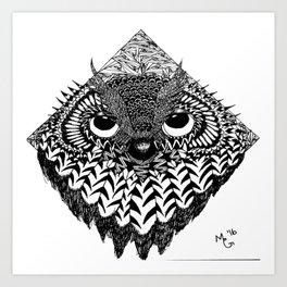 Owl Head Art Print