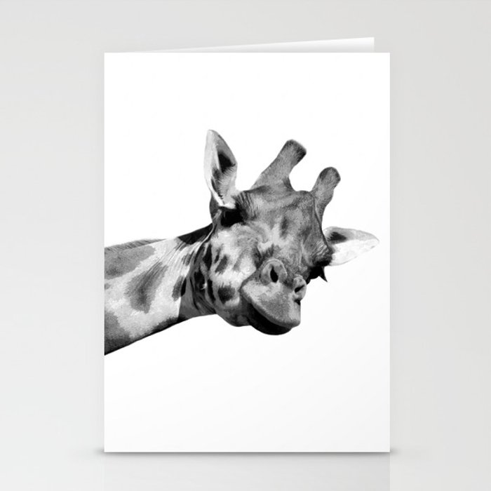 Black and white giraffe Stationery Cards