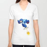 megaman V-neck T-shirts featuring MEGAMAN by Brwnbear
