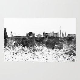 Bratislava skyline in black watercolor Rug