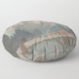Morning Mist in Taj Mahal by Yoshida Hiroshi - Japanese Vintage Ukiyo-e Woodblock Painting Floor Pillow