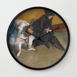 Waiting by Edgar Degas Wall Clock
