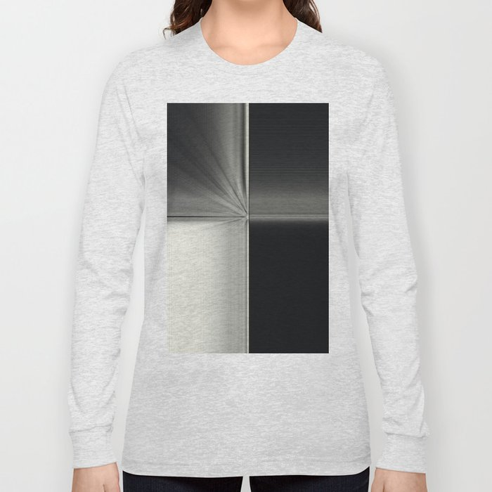 Modern Black White Block Zoom Design Long Sleeve T-shirt