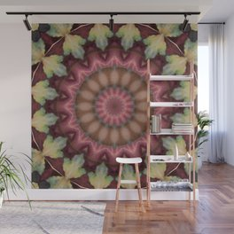 Autumn Leaf Mandala - Abstract Kaleidoscope Design by Fluid Nature Wall Mural