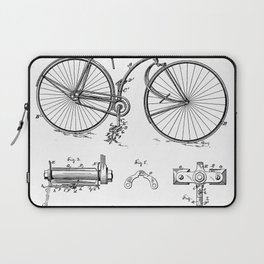 Bicycle Patent - Cyclling Art - Black And White Laptop Sleeve