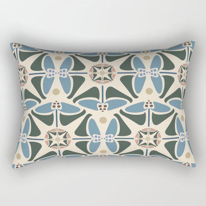 Blue Tulips - Circle Pattern Rectangular Pillow