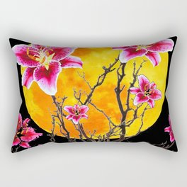 EXOTIC FUCHSIA STAR GAZER PINK LILIES MOON ART Rectangular Pillow