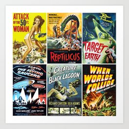 50s Sci-Fi Movie Poster Collage #1 Art Print