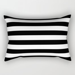 Stripe Black And White Horizontal Line Bold Minimalism Rectangular Pillow
