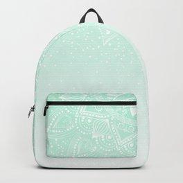 Elegant white and mint mandala confetti design Backpack