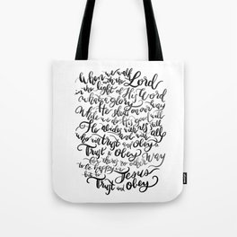 Trust and Obey - Hymn - BW Tote Bag