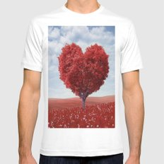 Tree heart White MEDIUM Mens Fitted Tee