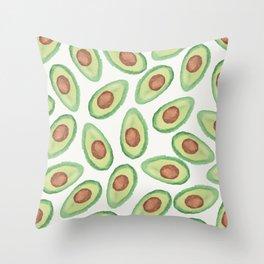 Original green brown watercolor avocado pattern Throw Pillow