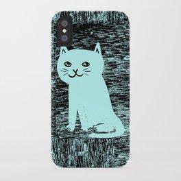 Wood grain cat iPhone Case