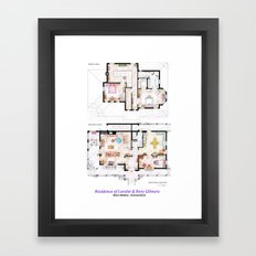 House of Lorelai & Rory Gilmore - Both Floorplans Framed Art Print