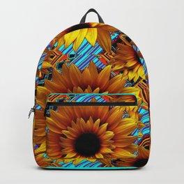 GOLDEN  ART DECO SUNFLOWERS TURQUOISE ART Backpack