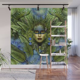 """Tropical green and indigo jungle Woman"" Wall Mural"