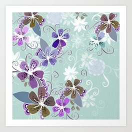 Summer blossom, blue and purple Art Print