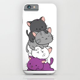Asexual Pride Cats Anime - Ace Pride Cute Kitten Stack iPhone Case