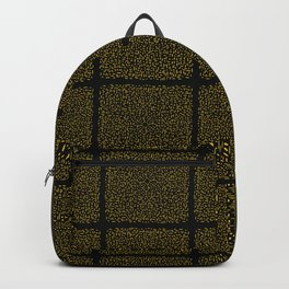 Yellow and Black Abstract Geometric Doodle Grid Backpack