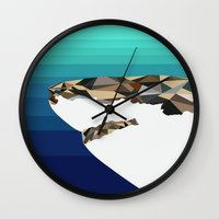 shark Wall Clocks featuring SHARK by Joan Horne