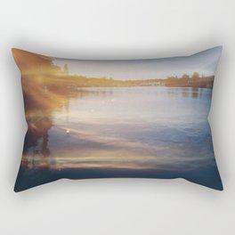 Leaking sunshine across the lake Rectangular Pillow