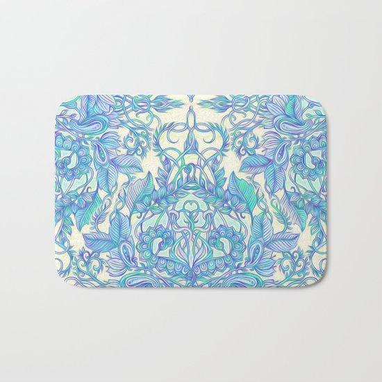 Lilac, Mint & Aqua Art Nouveau Pattern Bath Mat