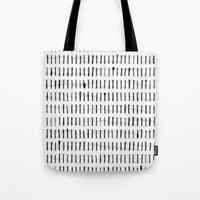 woodstock Tote Bags featuring Black Ink Woodstock Pattern on White  by LacyDermy
