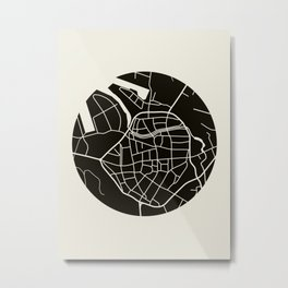 Wismar Karte Rund Metal Print