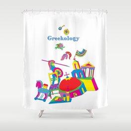Greekology Pop Art Tee Shower Curtain