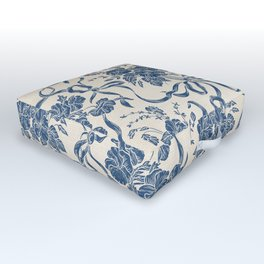 Chic Modern Vintage Ivory Navy Blue Floral Pattern Outdoor Floor Cushion