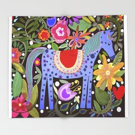 Folk art horse with flowers Throw Blanket