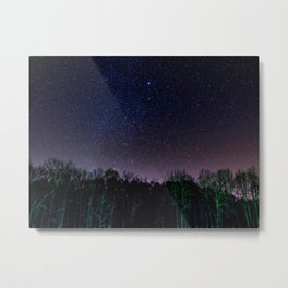 Star Night Sky Purple Hes With Forest Silhouette Metal Print