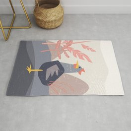 Lonely chicken roster in matisse style  Rug