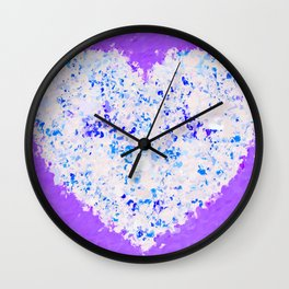 blue and white heart shape with purple background Wall Clock