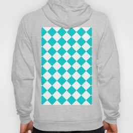 Large Diamonds - White and Cyan Hoody