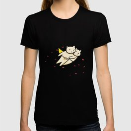Flying bears with roses illustration T-shirt
