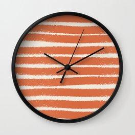 Orange stripe pattern Wall Clock