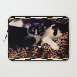 Love & Peace Cats on Black,White,Gold,Leopard Laptop Sleeve