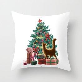 Naughty Orange Christmas Cat Throw Pillow
