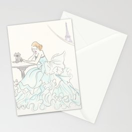 Glam Gorgeous Gowned Girl with Eiffel Tower View and Paris Pets Stationery Cards